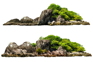 Foto auf Leinwand Insel The trees on the island and rocks. Isolated on White background