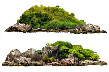 Photo on textile frame Island The trees on the island and rocks. Isolated on White background