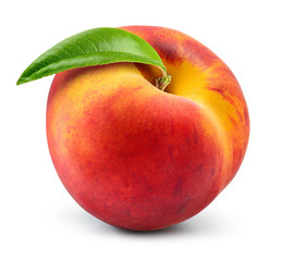 Peach isolate. Peach with leaf on white background. Full depth of field. With clipping path.