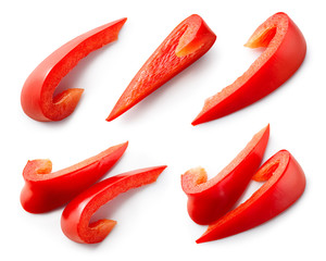 Red paprika. Pepper slice isolated. Red bell pepper. Cut peppers. With clipping path.