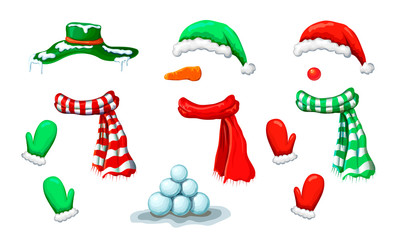 vector snowman face mask collection with accessory isolated on white. xmas holiday funny costume of snowman with various hats, scarves, mittens. Christmas photo booth and props for creative design.