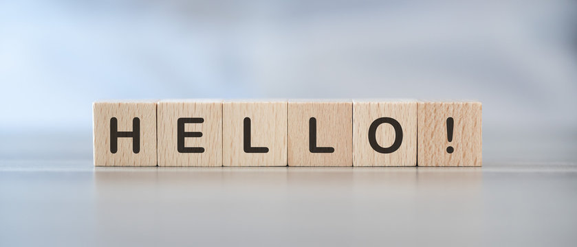 Word hello on cubes