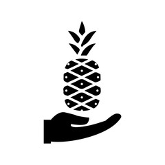 hand with pineapple, business icon vector design template