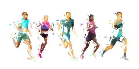 Estores personalizados esportes com sua foto Run, group of running people, low poly vector illustration. Geometric runners