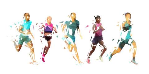 Lamas personalizadas de deportes con tu foto Run, group of running people, low poly vector illustration. Geometric runners