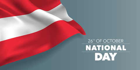 Austria happy national day greeting card, banner with template text vector illustration Fototapete