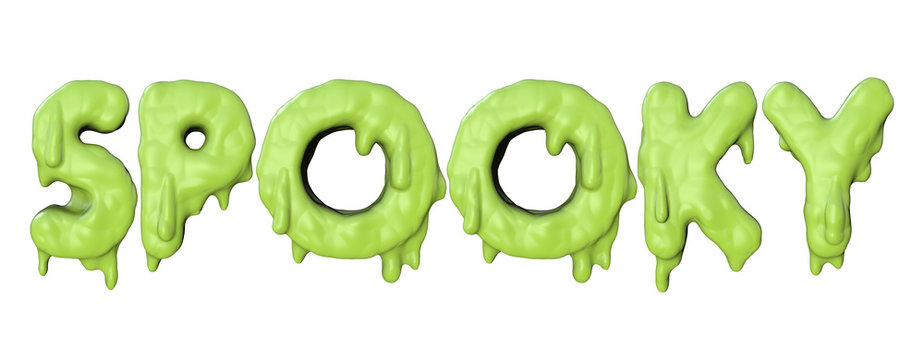 Spooky word made from green halloween slime lettering. 3D Render
