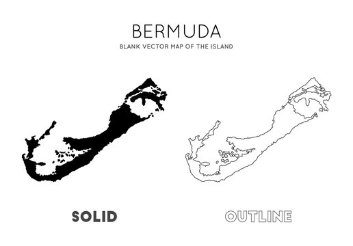 Bermuda map. Blank vector map of the Island. Borders of Bermuda for your infographic. Vector illustration.