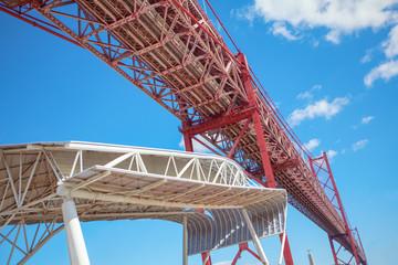 Architecture details of famous bridge in Lisbon , Portugal