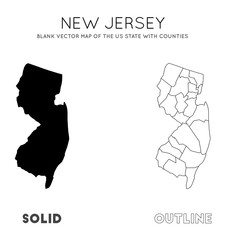New Jersey map. Blank vector map of the Us State with counties. Borders of New Jersey for your infographic. Vector illustration.