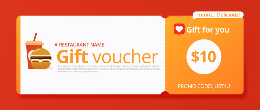 Voucher food in vintage style on white background. Discount for burger. Banner design. Sale Cartoon vector illustration. Layout template.