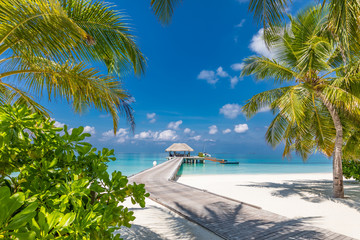 Maldives beach with luxurious water villas and loungers beautiful tropical scene. Luxury summer travel destination background concept. Beach mood for summer vacation or holiday design Wall mural