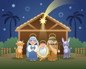 Christmas Nativity Scene with Holy Family and shooting Star of Bethlehem. Cute cartoon characters. Vector illustration.