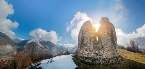 Ruins of a 16th century tower in Ilisu, a Greater Caucasus mountain village in north-western Azerbaijan