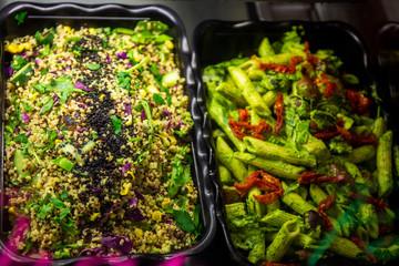Vegan organic food in the salad container