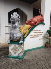 Thai Dragon and Lizard Statue at Temple in Chiang Mai