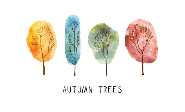 A set of four watercolor autumn trees. Isolated on white background.