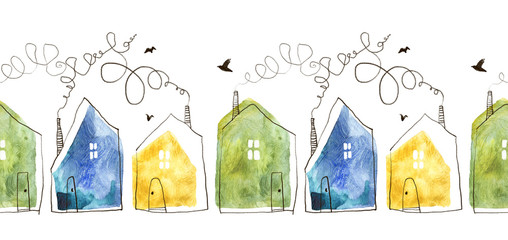 Seamless pattern with hand painted watercolor houses. Isolated on white background.