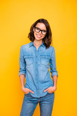 Portrait of lovely charming youngster have free time feel positive on travel trip spring vacation wear trend outfit isolated over bright color background