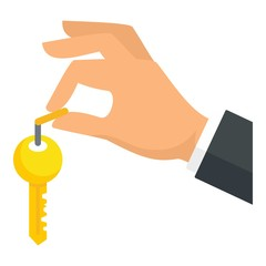 Hand house key icon. Flat illustration of hand house key vector icon for web design