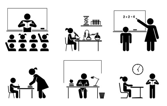 Set of school and education pictograms and icons. School days. Teacher and pupils in classroom.