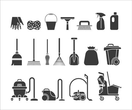 Set of icons for cleaning service tools. Collection of icons presenting equipment for cleaning homes and offices. Housework professional assistance.
