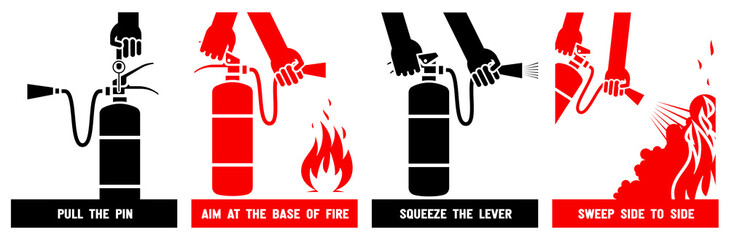 Fire extinguisher label. Fire extinguisher instruction signs. Vector illustration.
