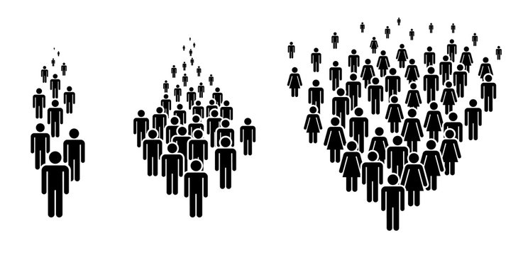 Group of People. Concept of People Figure Pictogram Icons. Crowd signs. Large columns of people.