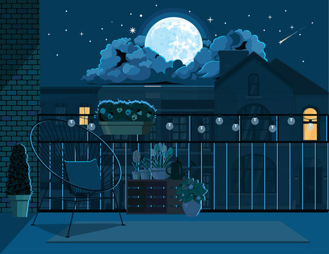 Illustration of a night balcony illuminated by moonlight.