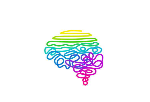 Tangled rainbow colored wire in brain shape vector illustration