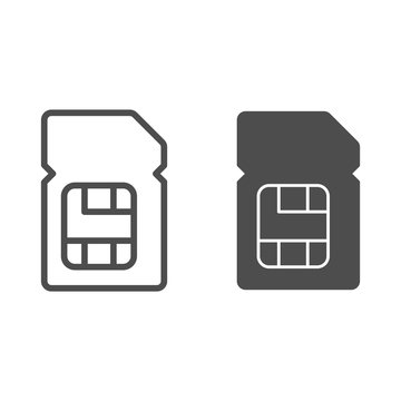 Sim card line and glyph icon. Mobile chip vector illustration isolated on white. Microchip outline style design, designed for web and app. Eps 10.