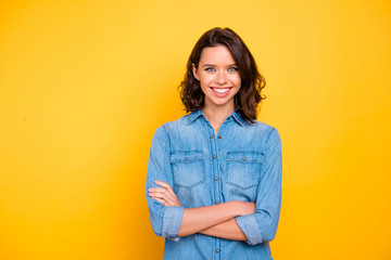Portrait of cheerful positive nice freelancer feel glad optimistic about her college university work wear modern outfit isolated over bright color background