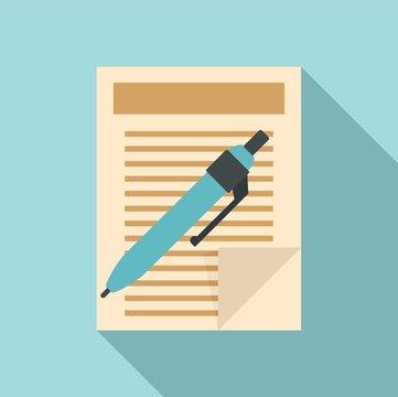 Pen paper document icon. Flat illustration of pen paper document vector icon for web design