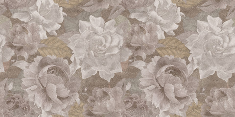 Fotorollo Retro vintage floral seamless backgroun, textile flowers or roses pattern