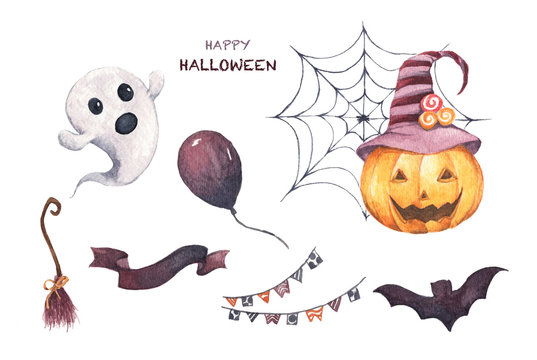 Watercolor Halloween set. Holiday illustration for design. In the picture: pumpkin, spider web, broom, air balloon, bat, little ghost.