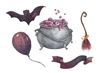 Watercolor Halloween set. Holiday illustration for design. In the picture: witch's cauldron, broom, air balloon, bat, ribbon.