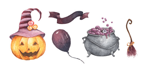 Watercolor Halloween set. Holiday illustration for design. In the picture: pumpkin, witch's cauldron, broom, air balloon, ribbon.