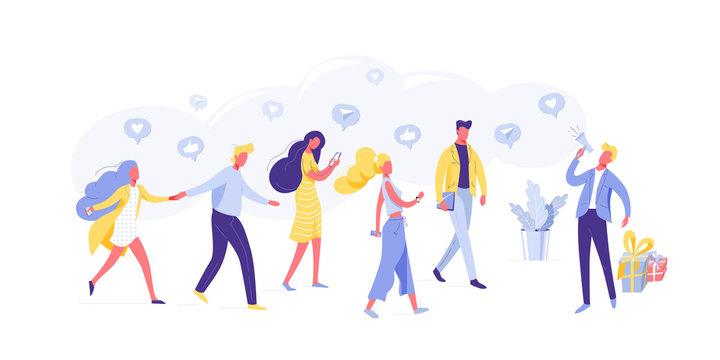 Referring friends in social media flat vector illustration