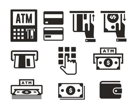 ATM icon set vector