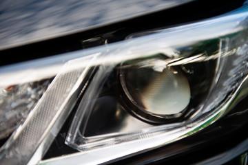 Close up of car head light LED