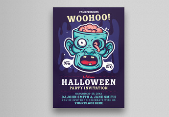 Halloween Party Flyer Layout with Zombie Illustration