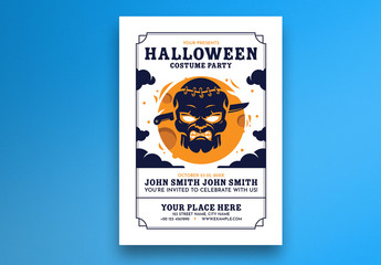 Halloween Party Flyer Layout with Zombie Head Illustration
