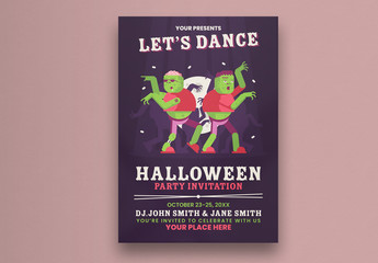 Halloween Party Flyer Layout with Dancing Zombies Illustration
