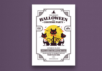 Halloween Party Flyer Layout with Cat Illustration
