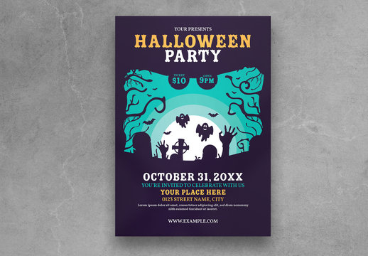 Halloween Party Flyer Layout with Cemetery Illustration