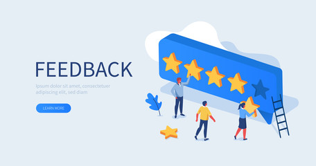 People Characters Giving Five Star Feedback. Clients Choosing Satisfaction Rating and Leaving Positive Review. Customer Service and User Experience Concept. Flat Isometric Vector Illustration.