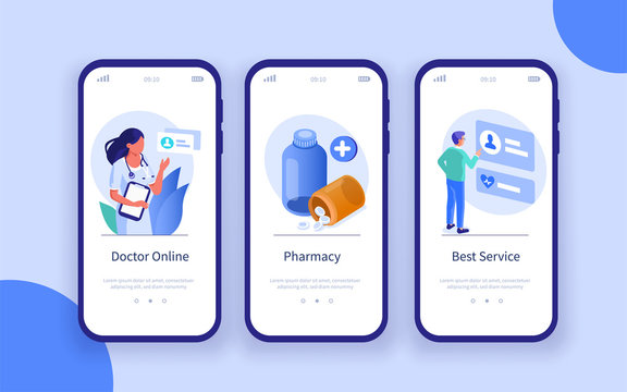 Healthcare and Medicine Mobile App Pages Template. Patient Choosing Online Doctor and Receiving Medicament Prescription. Different Medical Services Concept. Flat Isometric Vector Illustration.