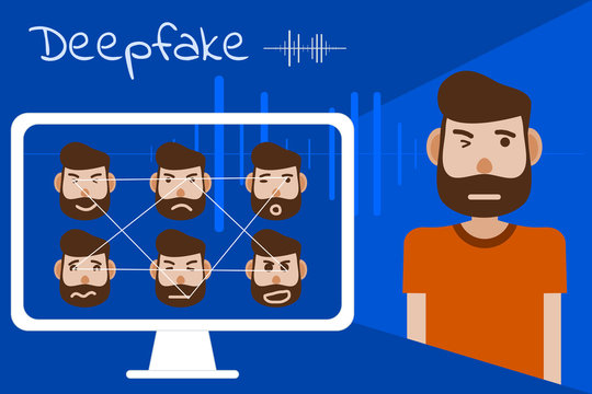 Deepfake is one of technology from artificial intelligence (AI) , vector