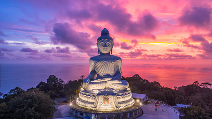 Aerial view Big Buddha at twilight, Big Buddha landmark of Phuket, Phukei Island, Thailand.