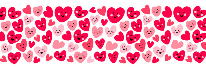 Cute childish background with funny kawaii cartoon characters of hearts